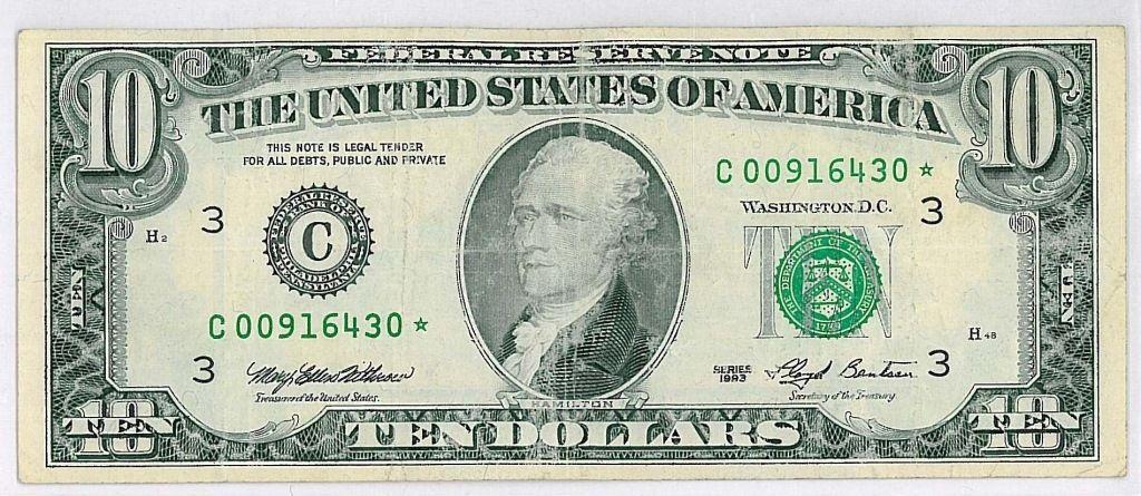 1993 STAR TEN-DOLLAR($10) BILL~ LOW SERIAL NUMBER | 10 dollar bill, Dollar, Silver certificate