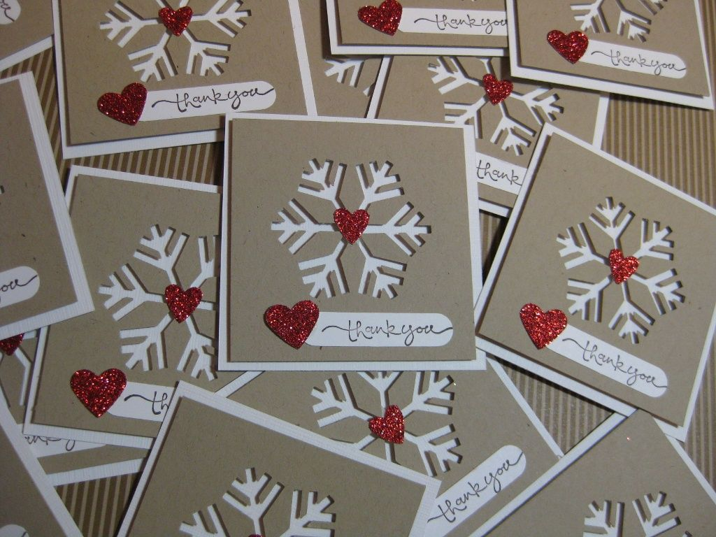 Negative space snowflakes. More thank you card ideas