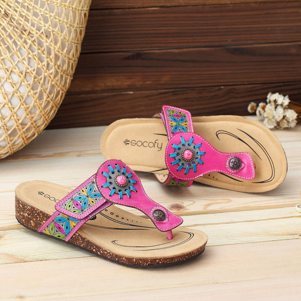 378b0519f51 Hot-sale Socofy SOCOFY Retro Buckle Fancy Flowers Splicing Genuine Leather  Stitching Slip On Comfortable Flat Shoes - NewChic Mobile