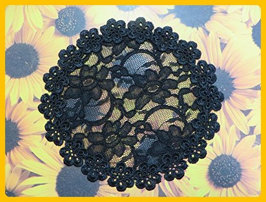 Handmade black lace doily head cover with unique trim (with decorative bobby pin). Exclusively by Elegant Doily - Bridal hair accessories (*Amazon Partner-Link)