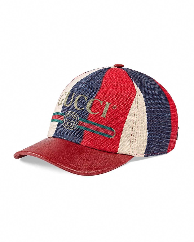 96f8e3e1 Gucci Men's Sylvie Striped Linen Baseball Cap #baseballcaps ...