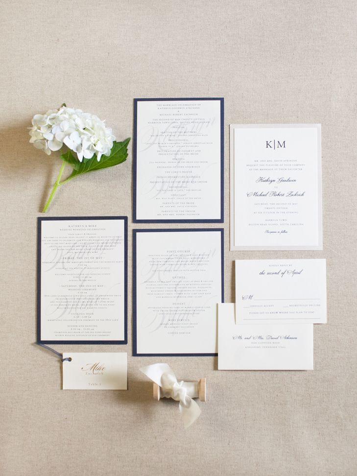 Navy and Ivory Wedding Invitation Suite from