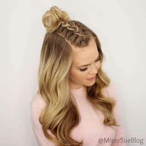 French Braid Into Messy Bun Half Up Half Down Skill Level Easy Top Knot Hairstyles Hair Styles Braided Top Knot Hairstyle