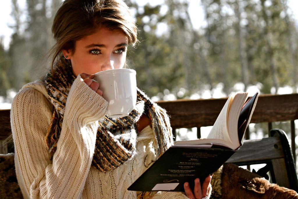 A sunny fall day, a good book, comfy sweater and a cup of something warm to drink.