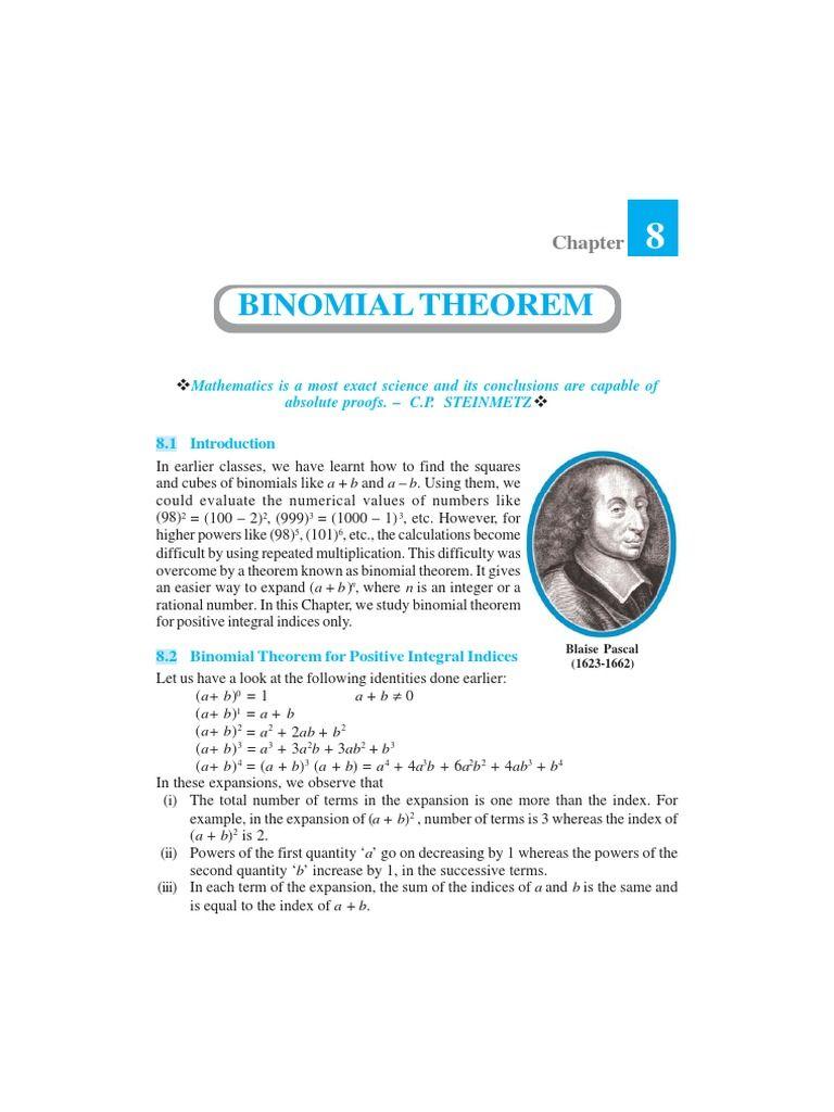 Binomial Theorem Binomial Theorem Theorems Complex Analysis