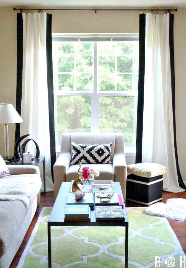 Bliss At Home Diy Painted Black Border Curtains With Vertical