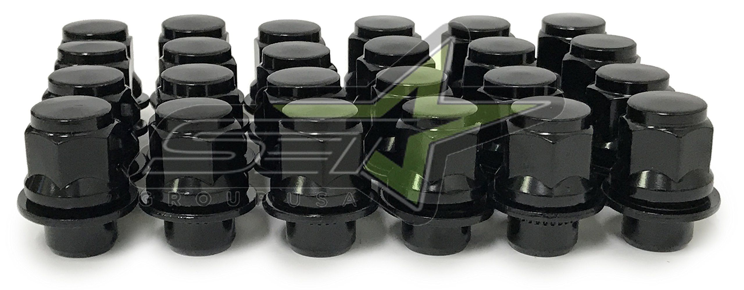 24 Pcs Black Mag Lug Nuts For Toyota Factory Factory Wheels On 12x1.25 Studs Car Truck