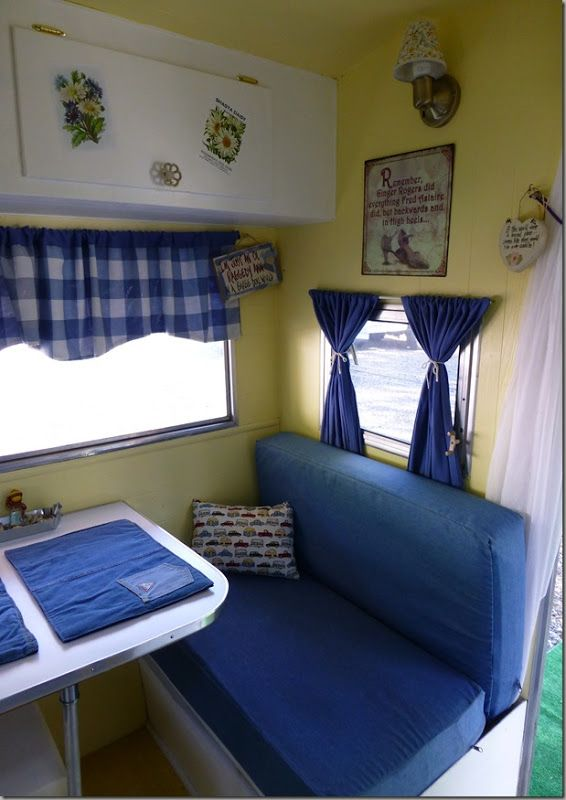 Nice  Blue, yellow, white themed interior  | VIntage camper