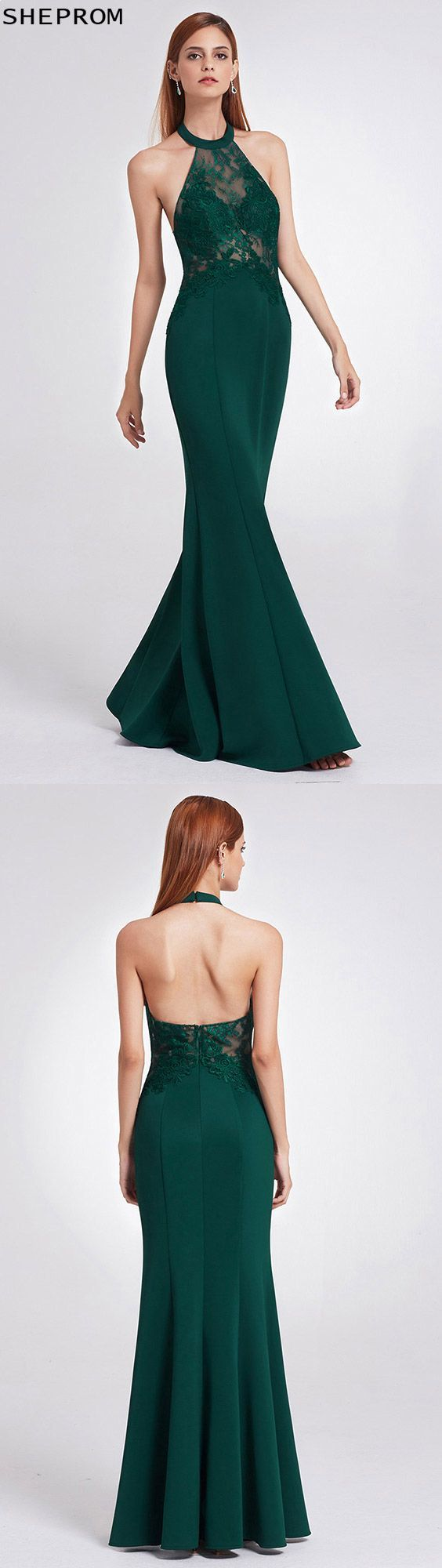 Unique halter lace dark green fitted evening dress epdg
