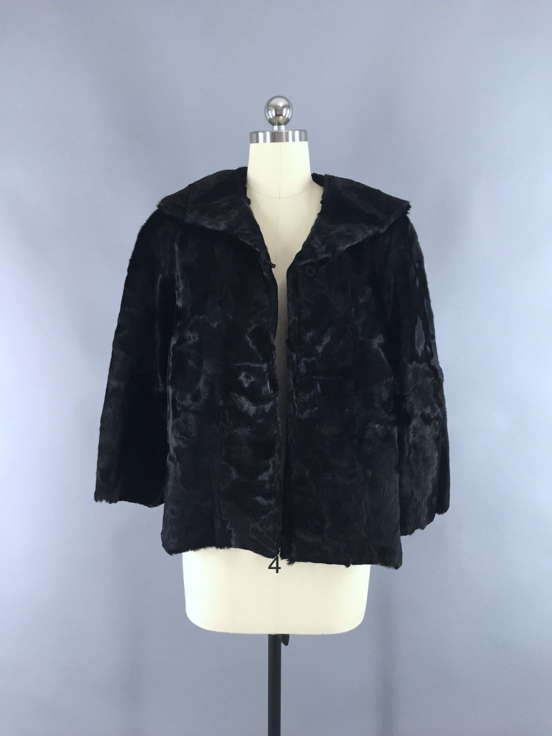 Vintage 1950s Black Fur Jacket Swing Coat
