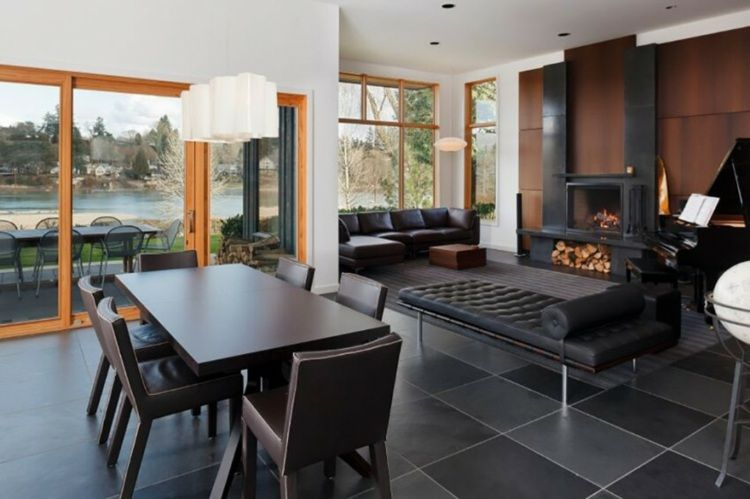 salle à manger contemporaine, baies vitrées, carrelage sol gris ...