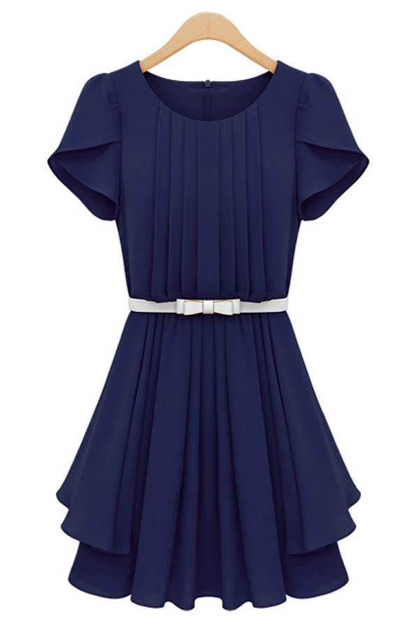83c07fdd7a6  42.99 Dark Blue Petal Sleeve Pleated Dress   MayKool.com