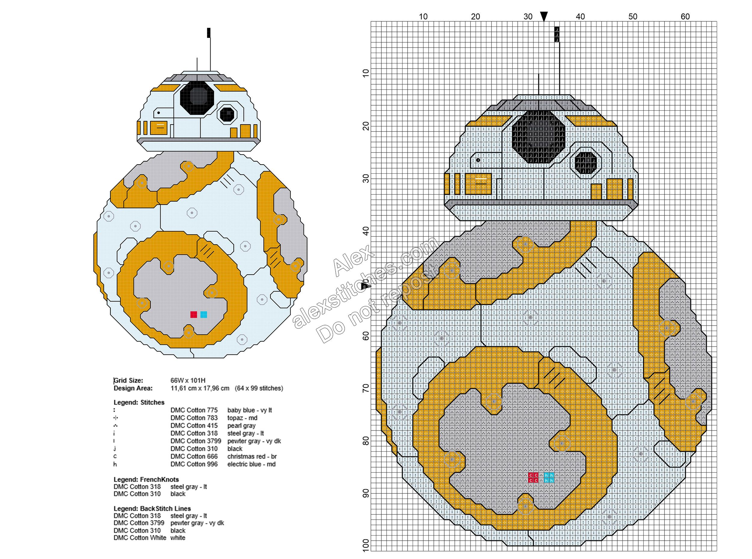 Star Wars BB-8 free cross stitch pattern 64x99   Punto de Cruz ...