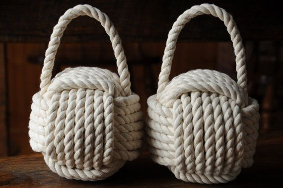 2 Nautical Doorstops Cotton Rope Doorstops Nautical By Oyknot 70 00 With Images Rope Doorstop Rope Decor Nautical Doorstop