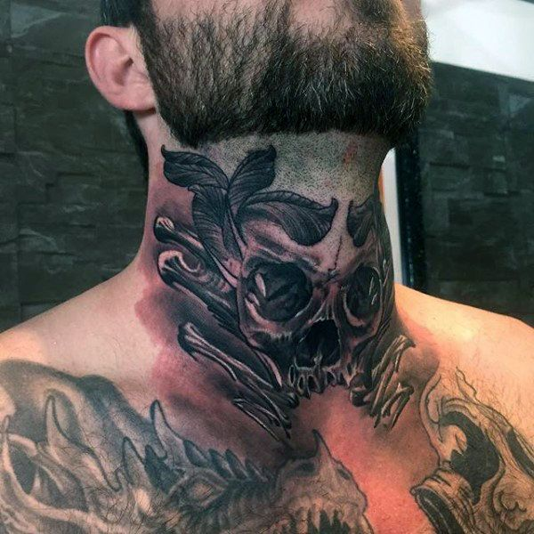 80 Throat Tattoos For Men Cool Masculine Design Ideas Throat Tattoo Neck Tattoo For Guys Neck Tattoo