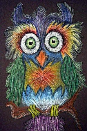 oil pastel owls - good texture lesson!