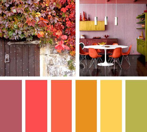 Que lindo empezar el día sumergido en esta gama de colores Otoñales.  Espacio via: pinterest | Paletas de colores, Gamas de colores, Juego de  colores