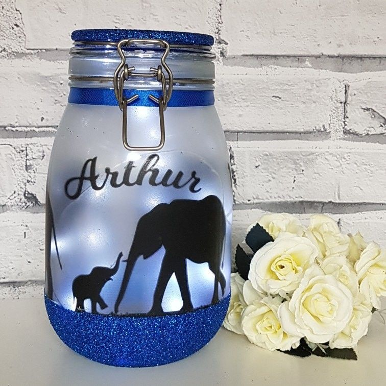 Personalised Large Elephant Light Jar Now In My Etsy Shop