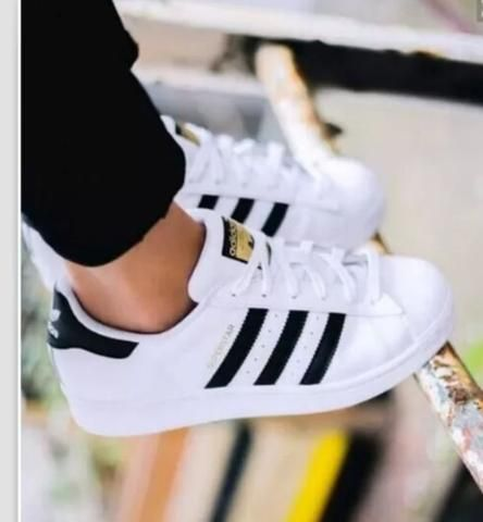 Fashion Shell-toe Flats Sneakers Sport Shoes White Black Golden For women #adidasclothes