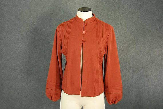 Vintage 60s Cardigan 1960s Brick Red Jersey Knit Sweater Sz Jersey Knit Sweater Jersey Knit Cardigan Knit Jersey