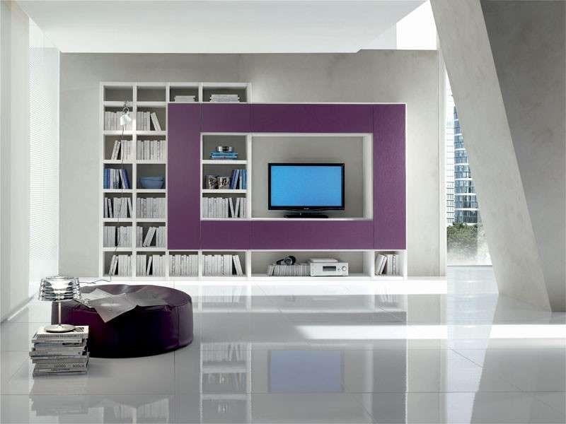 Soggiorno Viola ~ Pareti attrezzate soggiorno mobile viola e bianco per il soggiorno