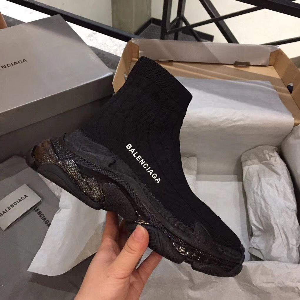 Balenciaga black clear sole sock boots