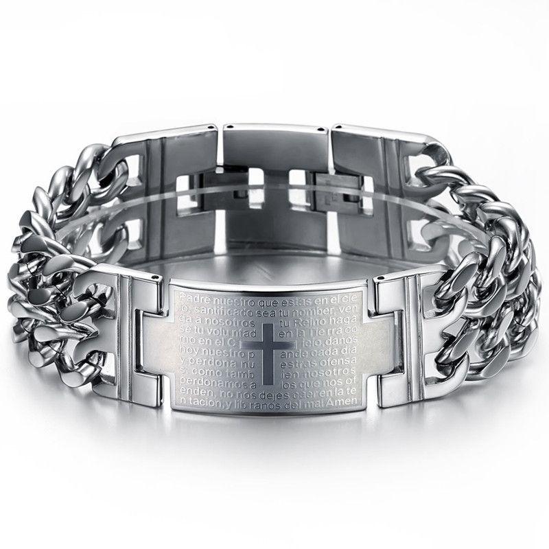 Free Shipping 2013 New Hot Sale Fashion New Bible Cross chain Men's 316 titanium steel Bracelet for men TY620