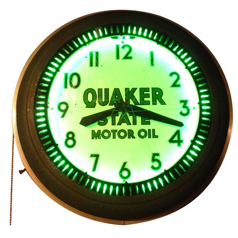 Quaker State Motor Oil Neon Quot Spinner Quot Wall Clock My