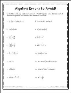 "FREE MATH LESSON - ""Algebra Error Detection Practice Worksheet"" - Go to The Best of Teacher Entrepreneurs for this and hundreds of free lessons.  10th - 12th Grade     #FreeLesson    #Math   http://www.thebestofteacherentrepreneurs.com/2015/12/free-math-lesson-algebra-error.html"