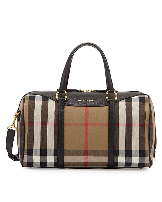 Burberry Alchester House Check Medium Derby Satchel Bag Black  88d0e80174b15