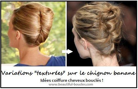 Idée coiffure cheveux bouclés un faux chignon banane texturé !  http//beautiful