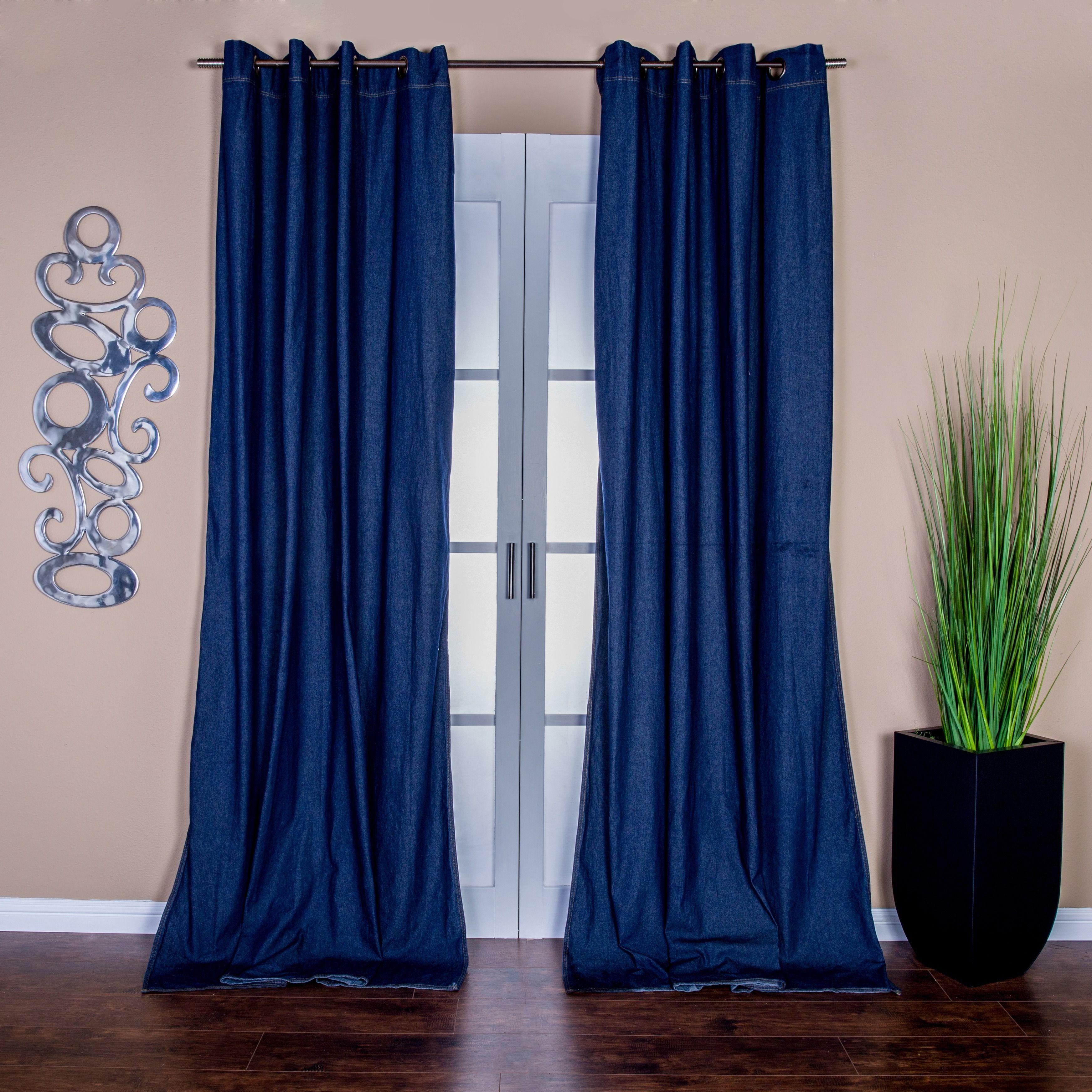 Cobalt blue curtain panels - Lambrequin Capri Denim Grommet Top 96 Inch Curtain Panel Pair Indigo 108