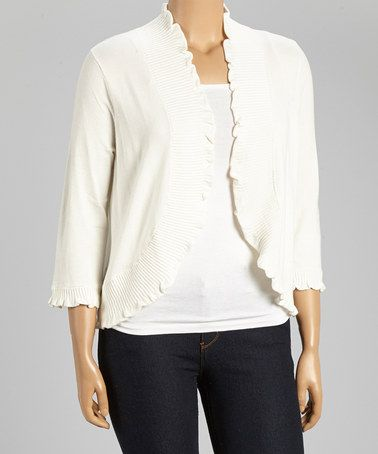 Another great find on #zulily! Ivory Ribbed Ruffle Open Cardigan - Plus by Thesis #zulilyfinds