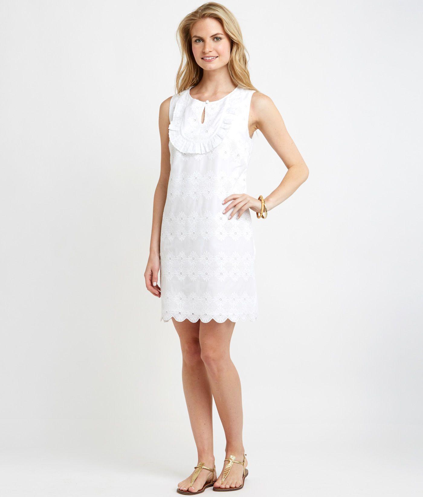 Shop Eyelet Ruffle Shift Dress At Vineyard Vines Dresses Shift Dress Little White Dresses [ 1646 x 1400 Pixel ]