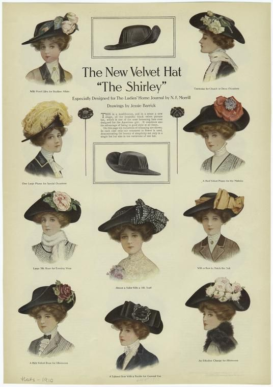 a9fb1c4395a 1910 woman velvet hat shirley style fashion barrick ad ad