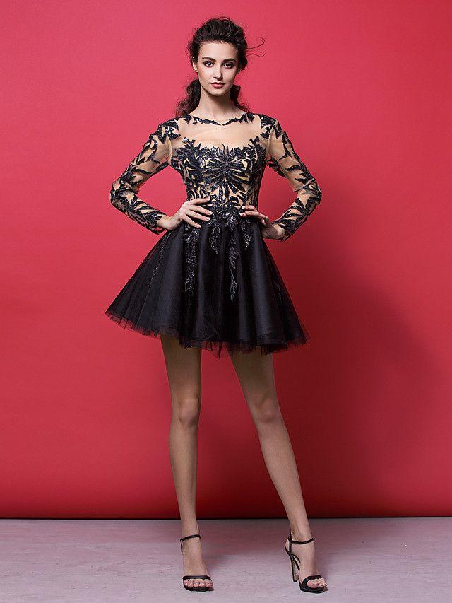 dd571e96f54e TS Couture® Cocktail Party Dress - Black Plus Sizes / Petite A-line /  Princess Jewel Short/Mini Tulle - USD $119.99