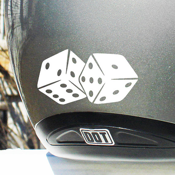 Dice Reflective Decal Pair Of Dice Helmet Sticker Dice - Vinyl stickers for motorcycle helmetsdragon hyper reflective decal motorcycle helmet safety sticker