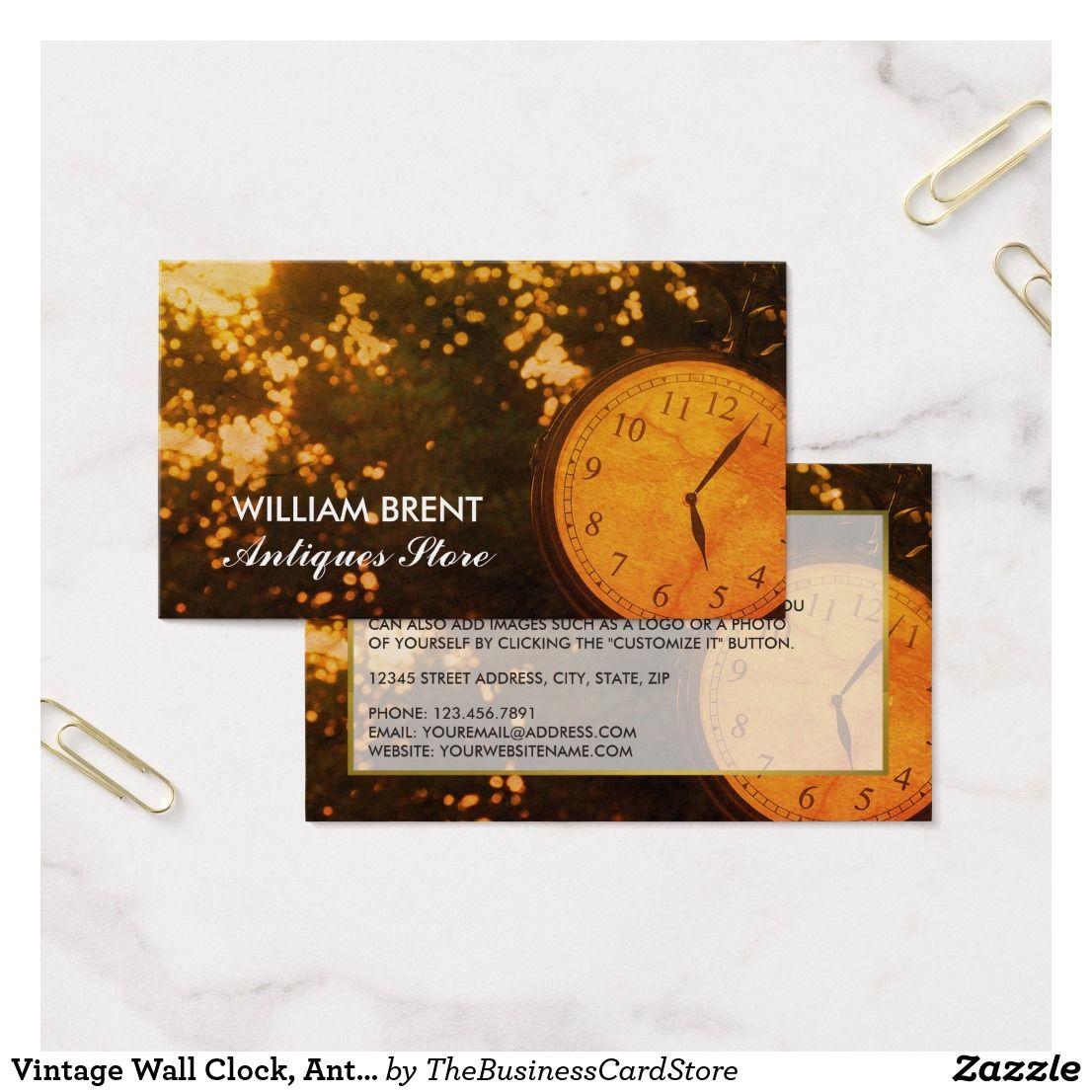 Vintage Wall Clock, Antique Business Card   Business   Pinterest ...
