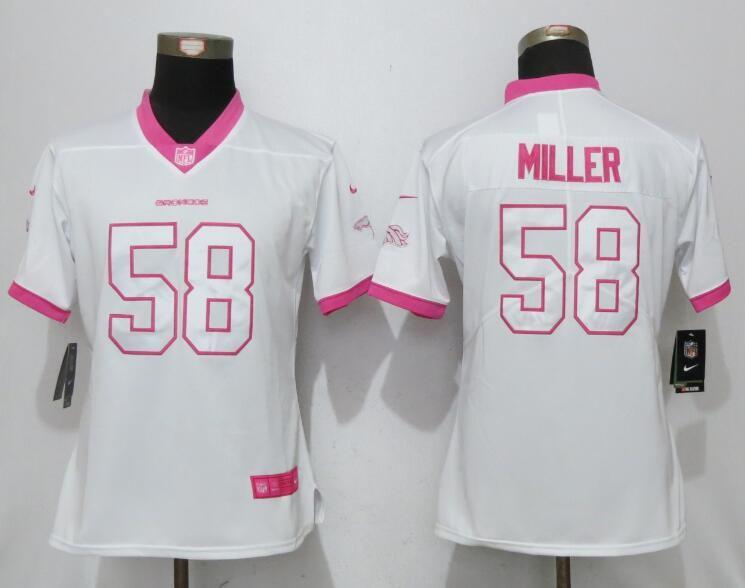 Women 2017 Denver Broncos 58 Miller Matthews White Pink Stitched New Nike  Elite Rush Fashion NFL Jersey fa7380bdb