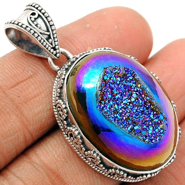 Titanium Window Druzy 925 Sterling Silver Pendant Jewelry TWDP526 - JJDesignerJewelry