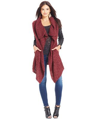 b8ae0fdbdc3fc Jessica Simpson Starla Faux-Leather-Sleeve Duster Cardigan   Winter ...