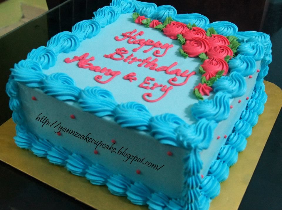 Blue Cake With Pink Flowers Birthday Cake For Women Simple Blue