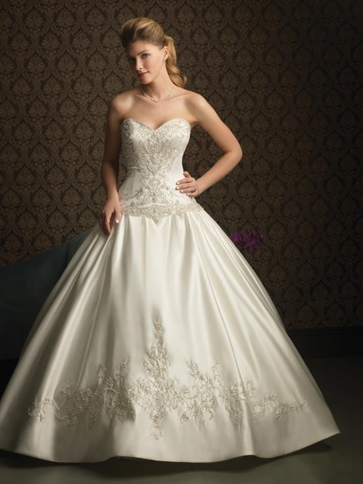 Ivory Wedding Dresses | Ivory Beaded Embroidery Satin Ball Gown ...