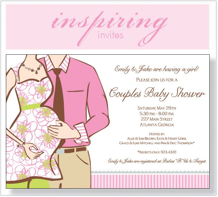 Couples Baby Shower Expecting Girl Invitation Couples baby