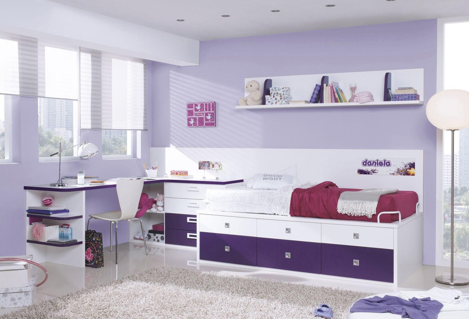 Amazing Kids Trundle Bed With Storage Drawer Finish White And Eggplant Purple Combine L Childrens Bedroom Furniture Master Bedroom Furniture Kids Bedroom Sets
