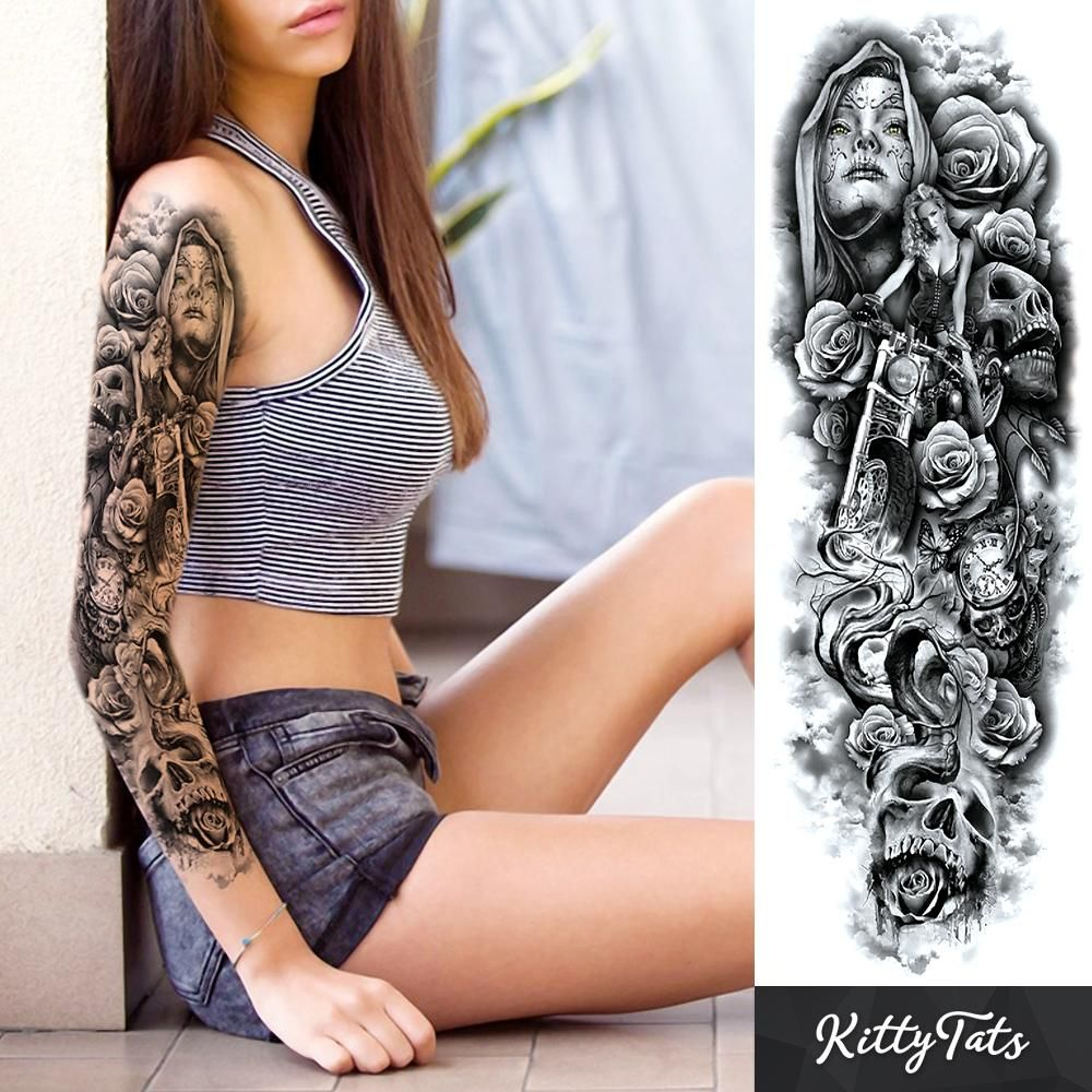 Motorcycle and Skulls  ink  Pinterest  Tattoos Arm Tattoo and