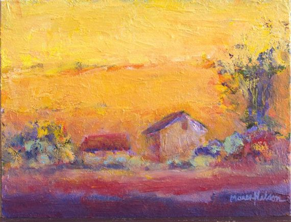 Hot Autumn Day Original Painting Modern Landscape Farm Buildings Warm Colors