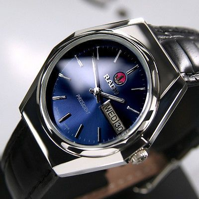 Rado PRESIDENT Mens Day Date Automeic Blue Dial 17Jewels Swiss Made Luxury Watch