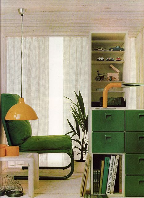 70s Green And Yellow Yellow Furniture Vintage Interiors Interior Design
