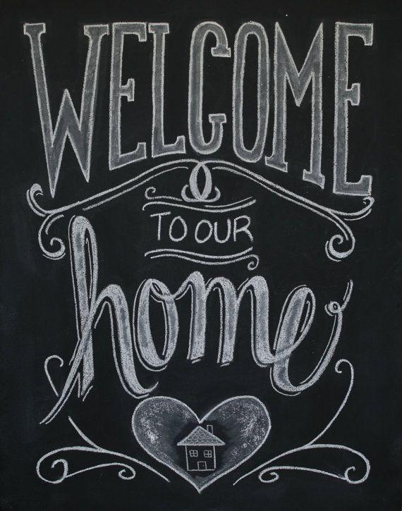 Chalkboard welcome print chalkboard art welcome sign welcome to our home print chalk for Printable chalkboard signs